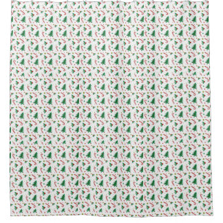 Candy Canes, Mistletoe, and Christmas Trees Shower Curtain