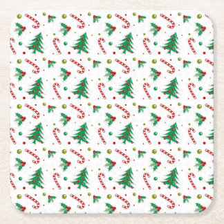 Candy Canes, Mistletoe, and Christmas Trees Square Paper Coaster