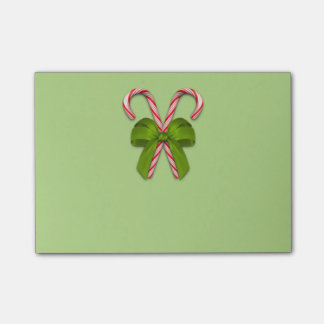 Candy Canes Olive Bow Post-it Notes