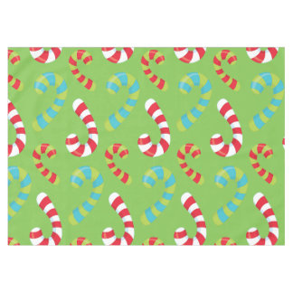 Candy Canes on Green Holiday Tablecloth