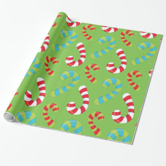 Candy Canes on Green Holiday Wrapping Paper