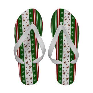 Candy Canes Peppermint Stripes Flip-Flops