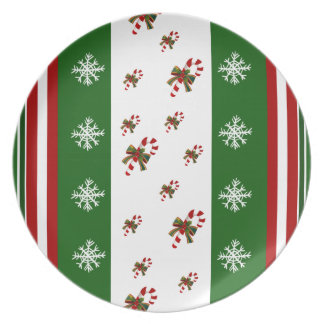 Candy Canes Peppermint Stripes Party Plate