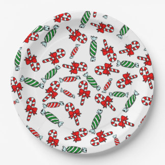"""Candy Canes & Peppermints 9"""" Holiday Paper Plate 9 Inch Paper Plate"""