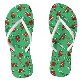 Candy Canes & Peppermints Holiday Flip Flops Thongs