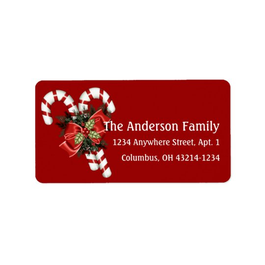 Candy Canes & Pretty Red Bow Address Labels