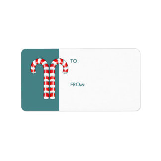 Candy Canes red Gift Tag Address Label