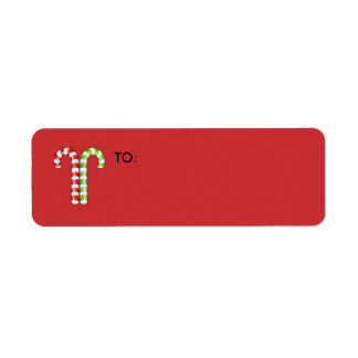 Candy Canes red green small Gift Tag Return Address Label