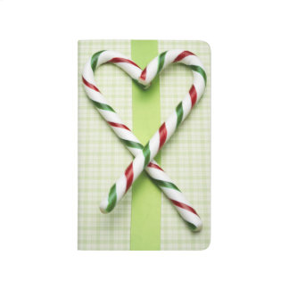 Candy Canes Red Green Stripe Heart Design Journal