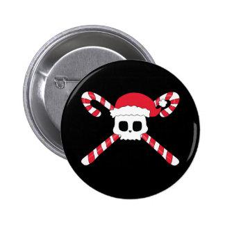 Candy Canes Skull Santa Hat Christmas 6 Cm Round Badge