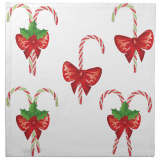 Candy Canes with Bow Set 2 Napkin