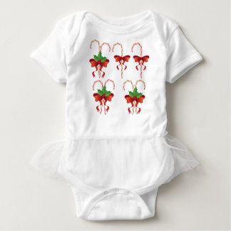 Candy Canes with Bow Set Baby Bodysuit