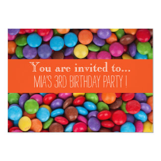 Candy chocolate kid's birthday party 13 cm x 18 cm invitation card