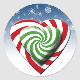 Candy Christmas Hearts Holiday Cards Seals Round Sticker