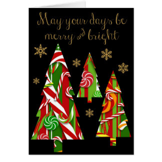 Candy Christmas Trees & Gold Snowflakes (black) Card