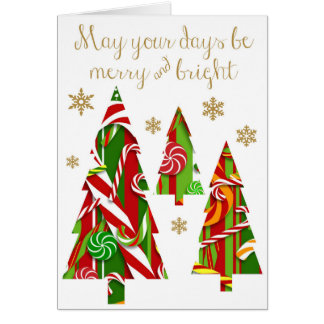 Candy Christmas Trees & Gold Snowflakes Card