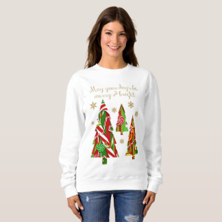 Candy Christmas Trees & Gold Snowflakes Sweatshirt