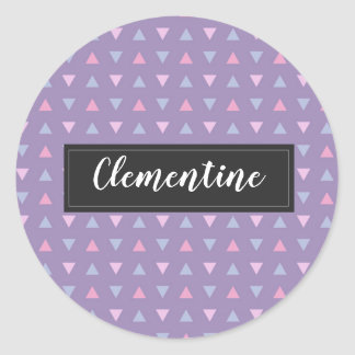 Candy Color Triangle Pattern Classic Round Sticker