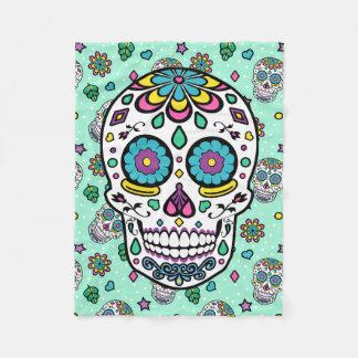 Candy Colorful Sugar Skull Fleece Blanket