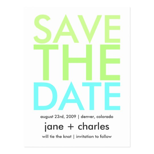 Candy Colours Green & Aqua Save the Date Postcard