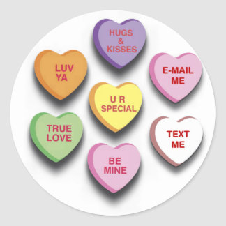Candy Conversation Hearts Gifts and Apparel Round Sticker