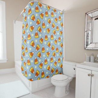 Candy Corn and Heart Pattern Shower Curtain