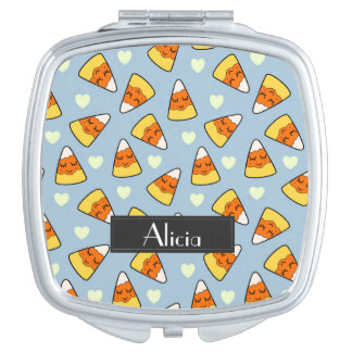 Candy Corn and Heart Pattern Travel Mirror