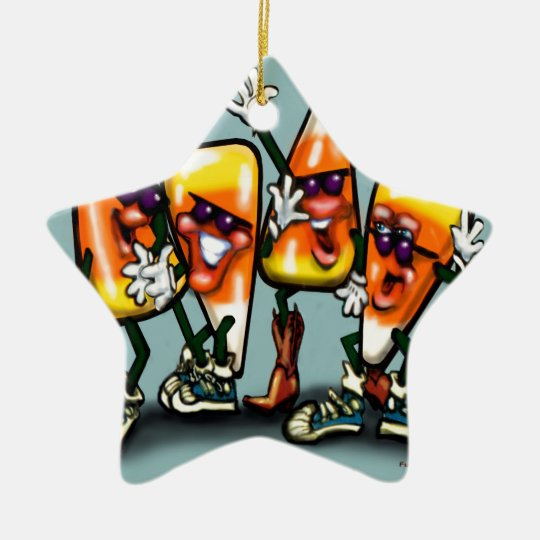 Candy Corn Gang Ceramic Ornament