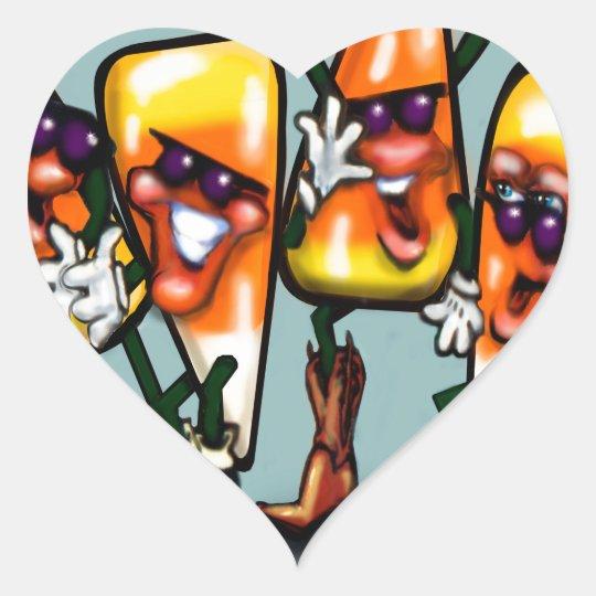 Candy Corn Gang Heart Sticker