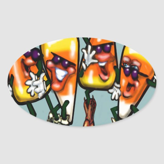 Candy Corn Gang Oval Sticker