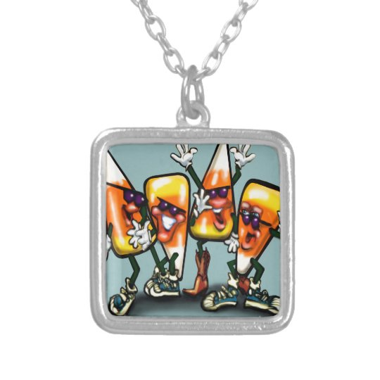 Candy Corn Gang Silver Plated Necklace