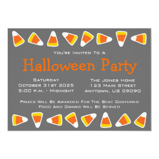 "Candy Corn Halloween Party Invitations 5"" X 7"" Invitation Card"