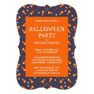 Candy Corn & Stars Halloween Invitations