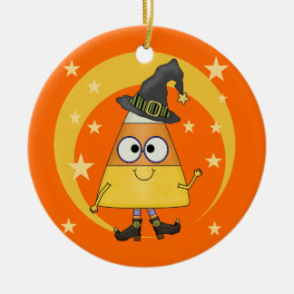Candy Corn Witch Halloween Ceramic Ornament