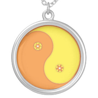 Candy Corn Yin Yang Silver Plated Necklace
