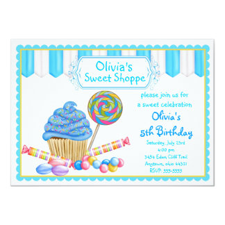 "Candy Cupcake Invitations 4.5"" X 6.25"" Invitation Card"