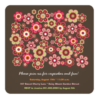 "Candy Daisies Bloom Kids Birthday Photo Invitation 5.25"" Square Invitation Card"