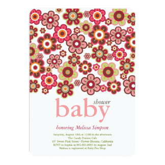 """Candy Daisies Flowers Blooms Baby Shower Invite 5"""" X 7"""" Invitation Card"""