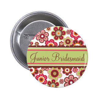 Candy Daisies Flowers Bridesmaid Wedding Button