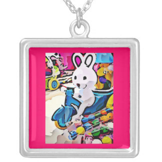 Candy Easter Bunny Square Pendant Necklace
