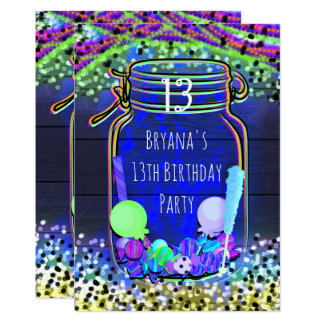 Candy Glow in the Dark Mason Jar Party Invitations
