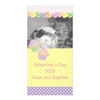 Candy Hearts Cupcakes Photo Greeting Card