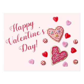 Candy Hearts Custom Message Valentine Postcard