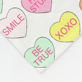 Candy Hearts Heart Valentine's Day Gift Blanket