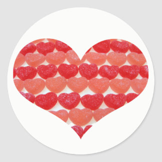 Candy Hearts In A Row, Heart Shaped Classic Round Sticker