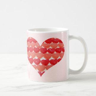 Candy Hearts In A Row, Heart Shaped Coffee Mug