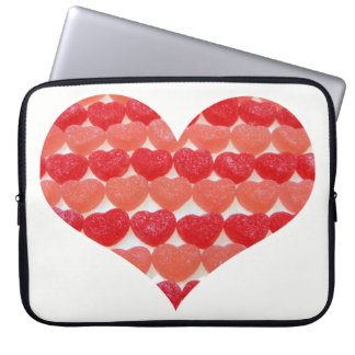 Candy Hearts In A Row, Heart Shaped Laptop Sleeves