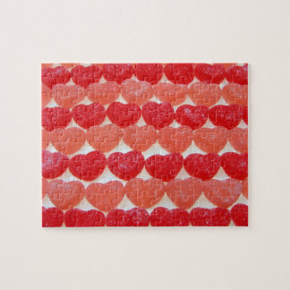 Candy Hearts In A Row Jigsaw Puzzle