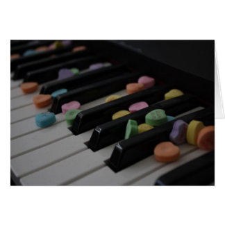 Candy Hearts on Keyboard Mother's Day Note Card