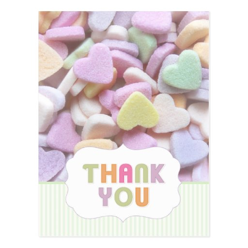 Candy Hearts Thank You postcard
